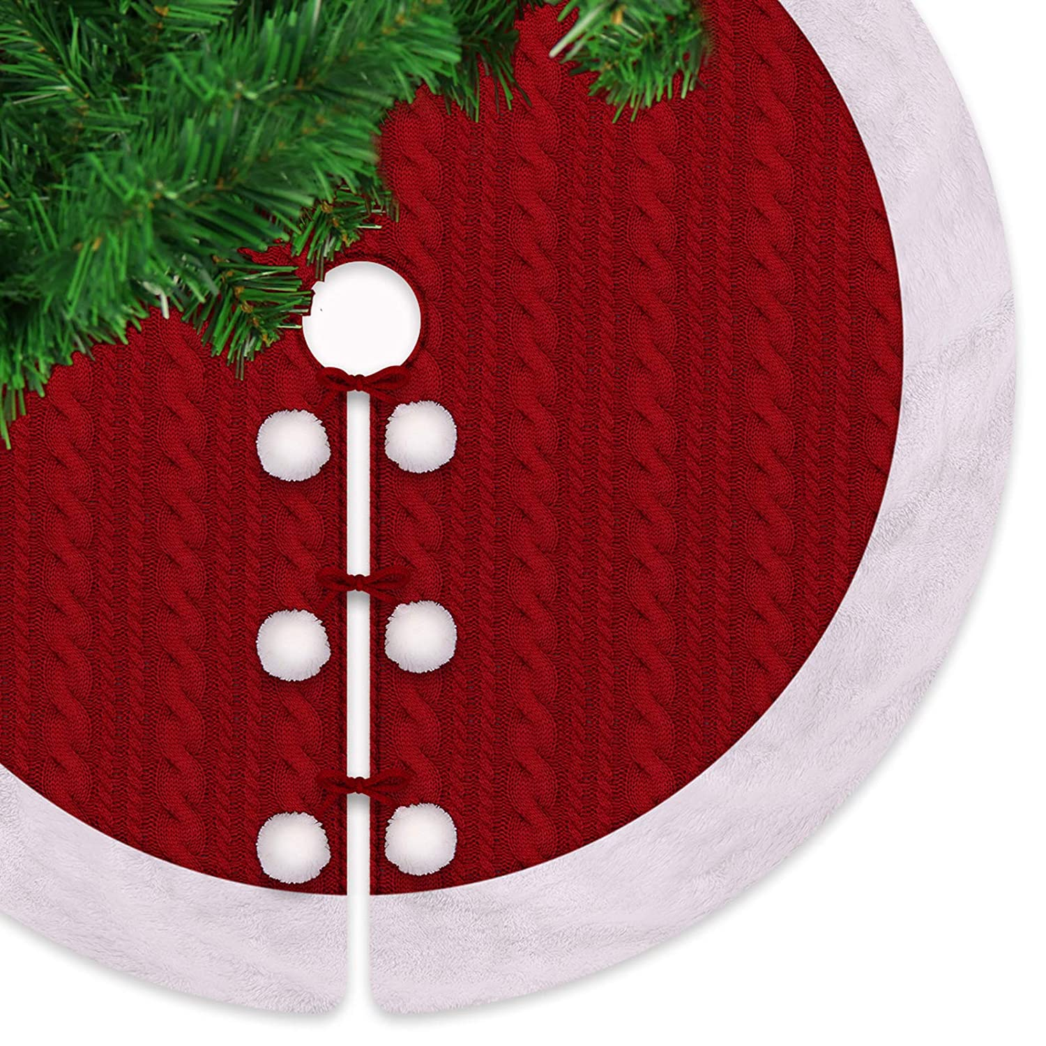 LimBridge 48\' Luxury Knitted Christmas Tree Skirt with Plush Faux Fur Edge, Rustic Red/White Thick Heavy Yarn Knit Xmas Holiday Decoration