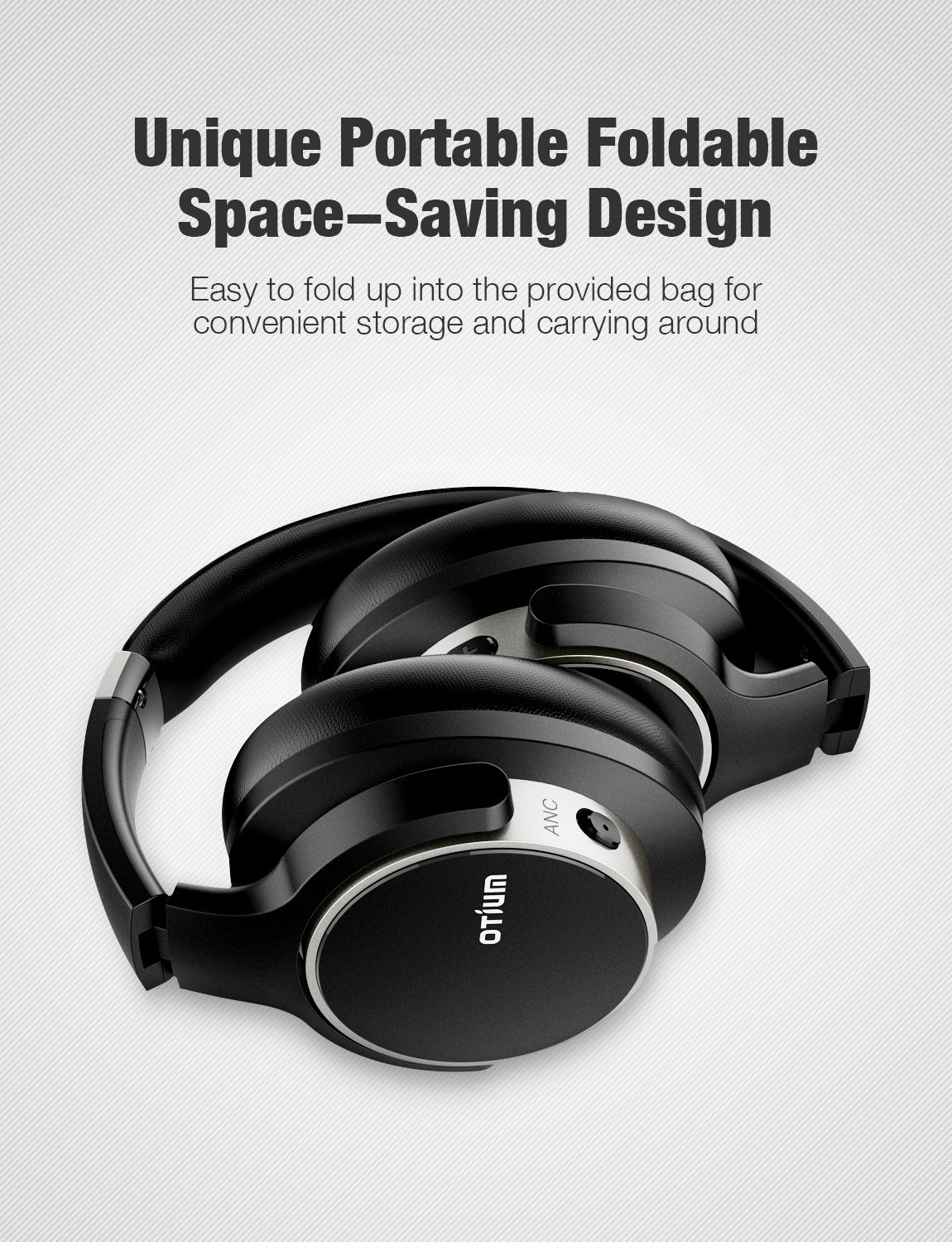 Otium Noise Cancelling Headphones, Wireless Headphones Over Ear Bluetooth Headphones with Mic Deep Bass, Foldable Comfortable Earpads 30H Playtime for Travel Work TV Computer Cellphone