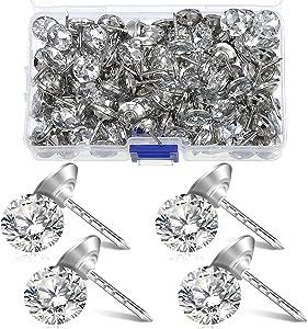 150 Pieces Diamond Buttons 16 mm Crystal Upholstery Nails Tacks Crystal Furniture Tacks Crystal Head Thumb Tacks Decorative Push Pins for Furniture Sofa Headboards Cork Board