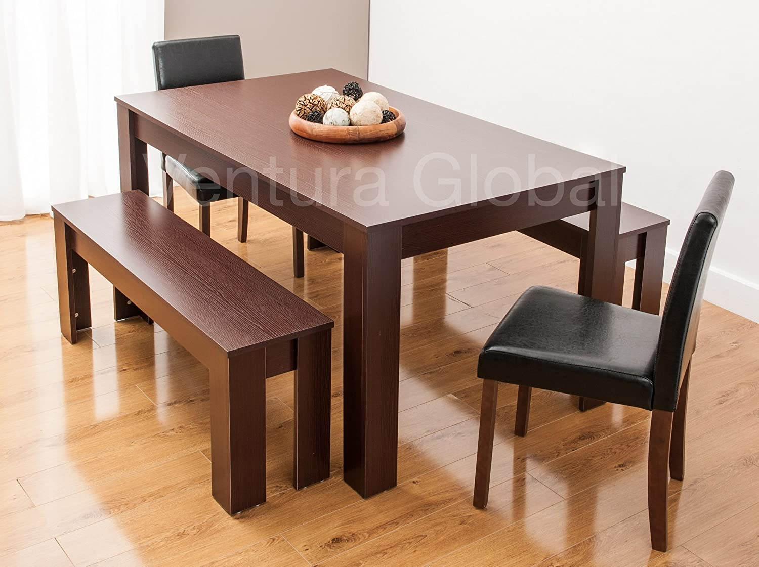 Phenomenal Dining Table With Faux Leather Chairs And Bench Oak Walnut Furniture Room Set By Smartdesignfurnishings Table 2 Chairs 2 Benches Walnut Caraccident5 Cool Chair Designs And Ideas Caraccident5Info