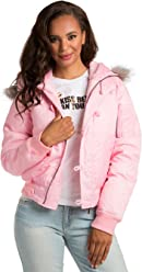 bdce40b0181a49 Sweet Vibes Junior Womens Light Pink Soft Cuddly Puffy Down Jacket Faux Fur  Hood