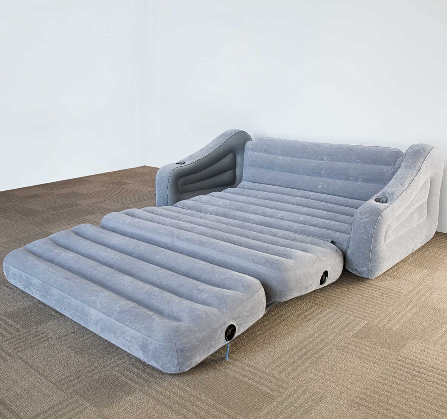 Intex Inflatable 2-In-1 Pull-Out Sofa and Queen Air Mattress Futon, Gray