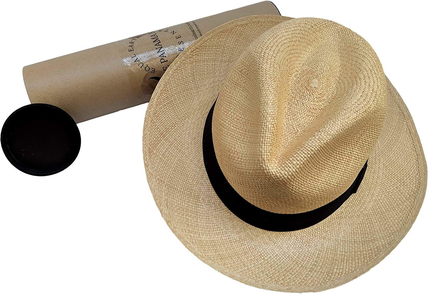 Equal Earth New Genuine Panama Hat Rolling Folding Quality with Travel Tube Natural