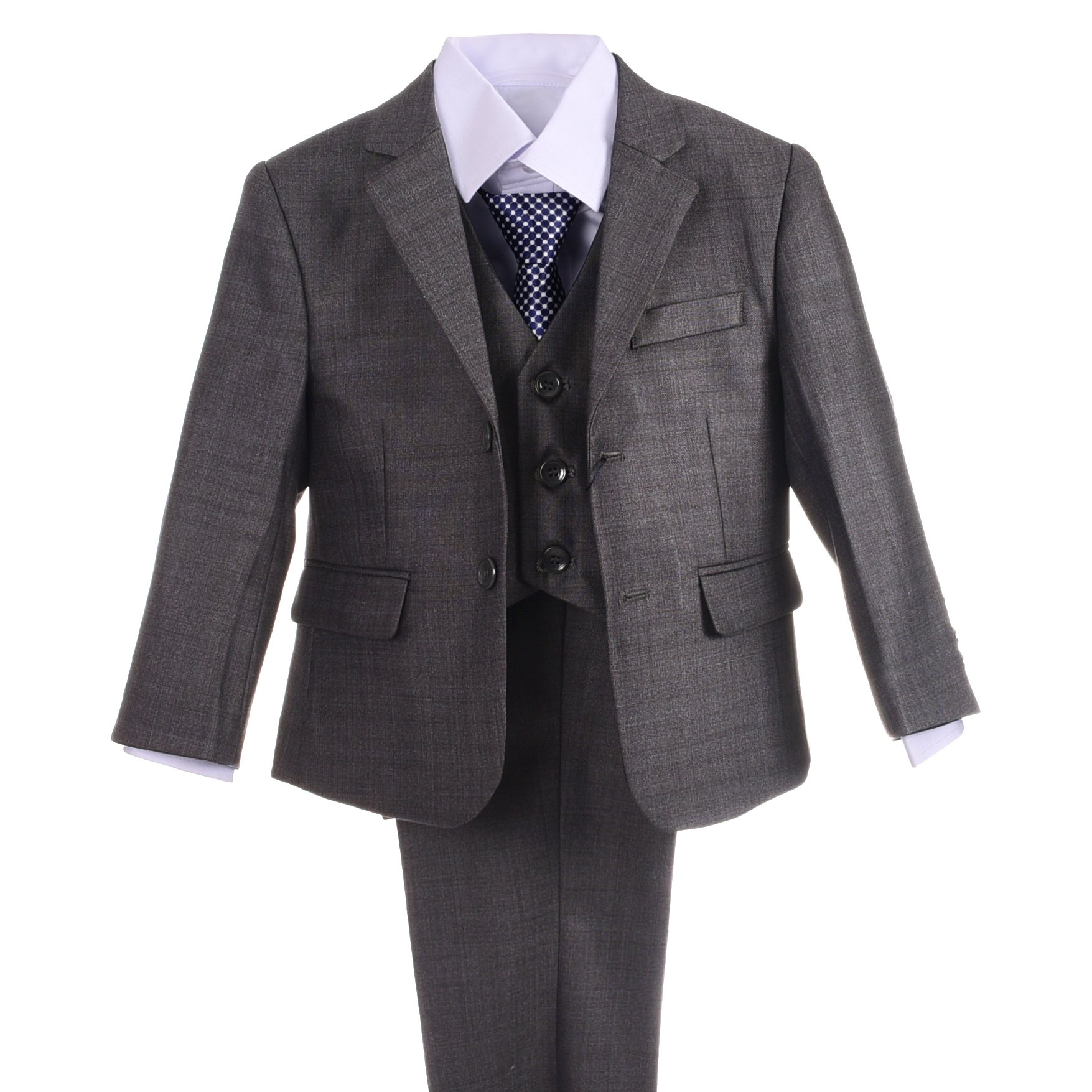 Dressy Daisy Boys Formal Dress Suits Wedding Outfit Grey Suits 5 Pcs Set Modern Fit Size 4T Grey