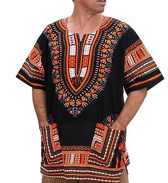 c45f9ef8cf0 Raan Pah Muang Unisex Bright Africa Black Dashiki Cotton Plus Size Shirt