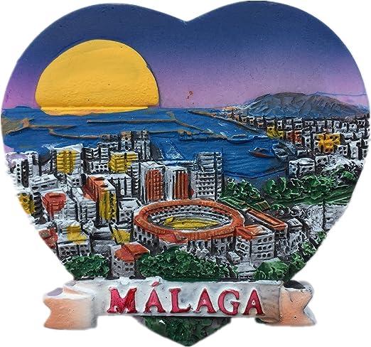 Málaga España Europa Ciudad Mundial Resina 3D Fuerte Imán de Nevera Regalo Turístico Imán Chino Hecho a mano Artesanía Creativa Casa y Cocina Decoración Magnética Pegatina: Amazon.es: Hogar