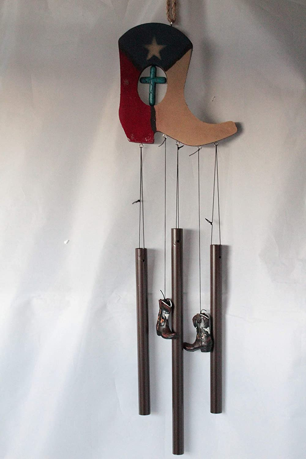 Texas Western Cowboy Cowgirl Boot Texas Map Turquoise Cross Wind Chime 33