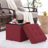 "Ellington Home Foldable Tufted Linen Storage Ottoman Cube Foot Rest Stool/Seat - 15"" x 15"" (Burgundy)"