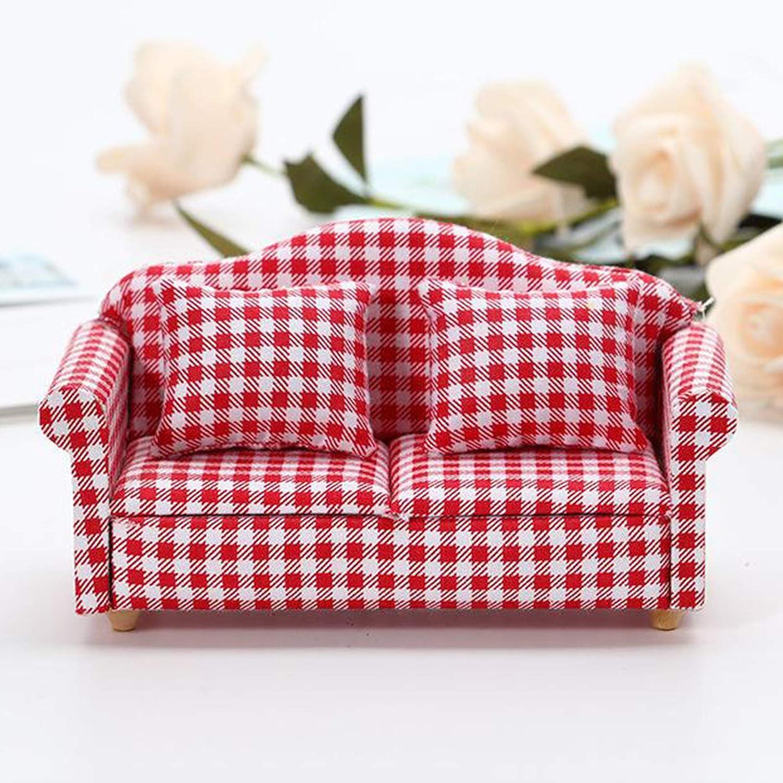 freneci 1//12 Casa di Bambole in Miniatura Moderna Sede di Amore Poltrona Divano Divano con Il Rosso Assegno in Bianco Cuscino