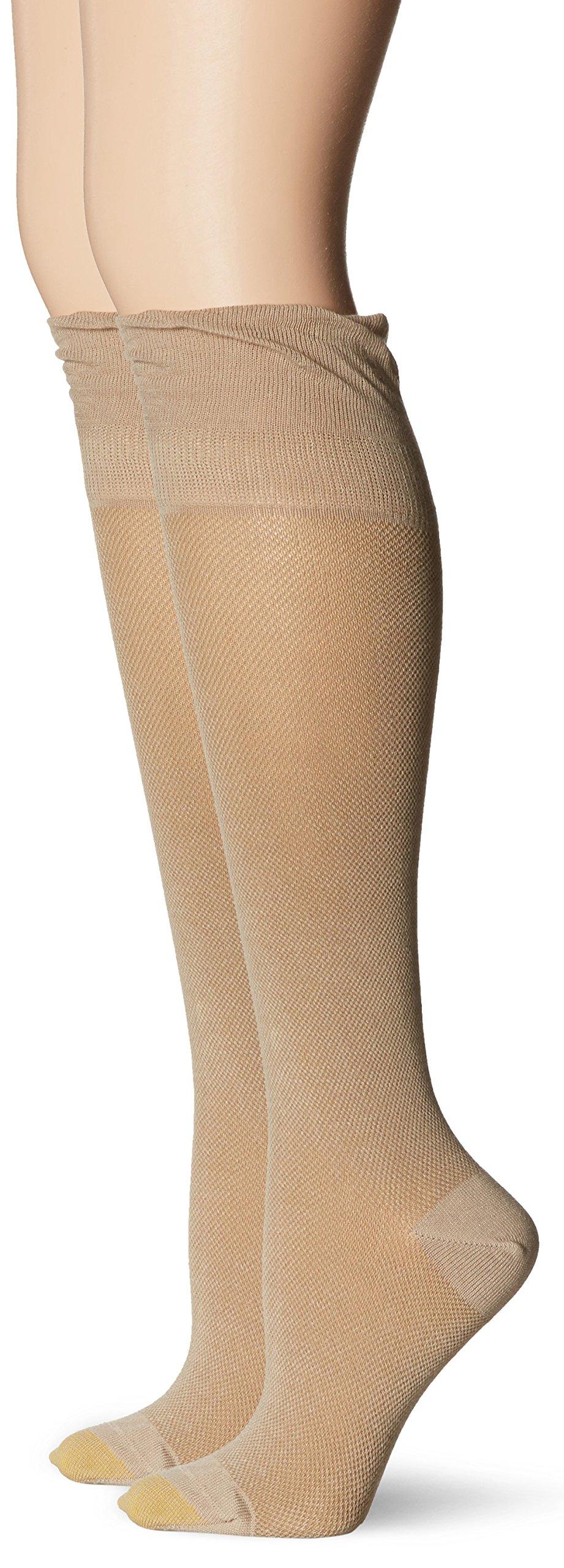 Gold Toe Women's Non-Binding Knee High Sock, Khaki, 9-11 (Pack of 2)