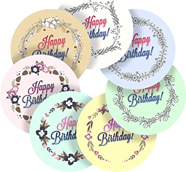 Amazon.com: Floral feliz cumpleaños mensajes calcomanía ...