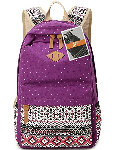 Leaper Cute Polka Dot and Aztec Casual Canvas Backpack School Bag Lightweight Rucksack (M,Purple)