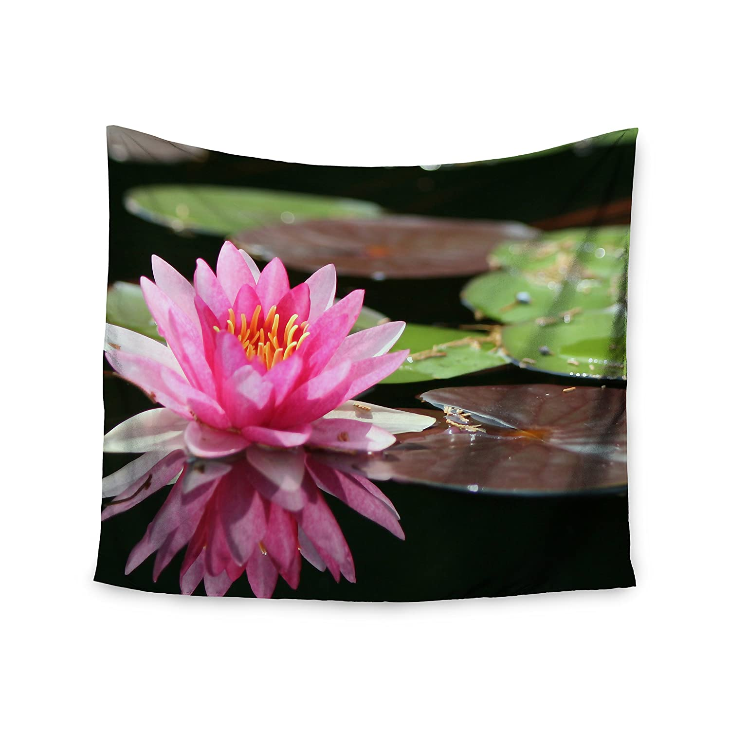 68 X 80 Kess InHouse Angie Turner Water Lily Green Pink Wall Tapestry
