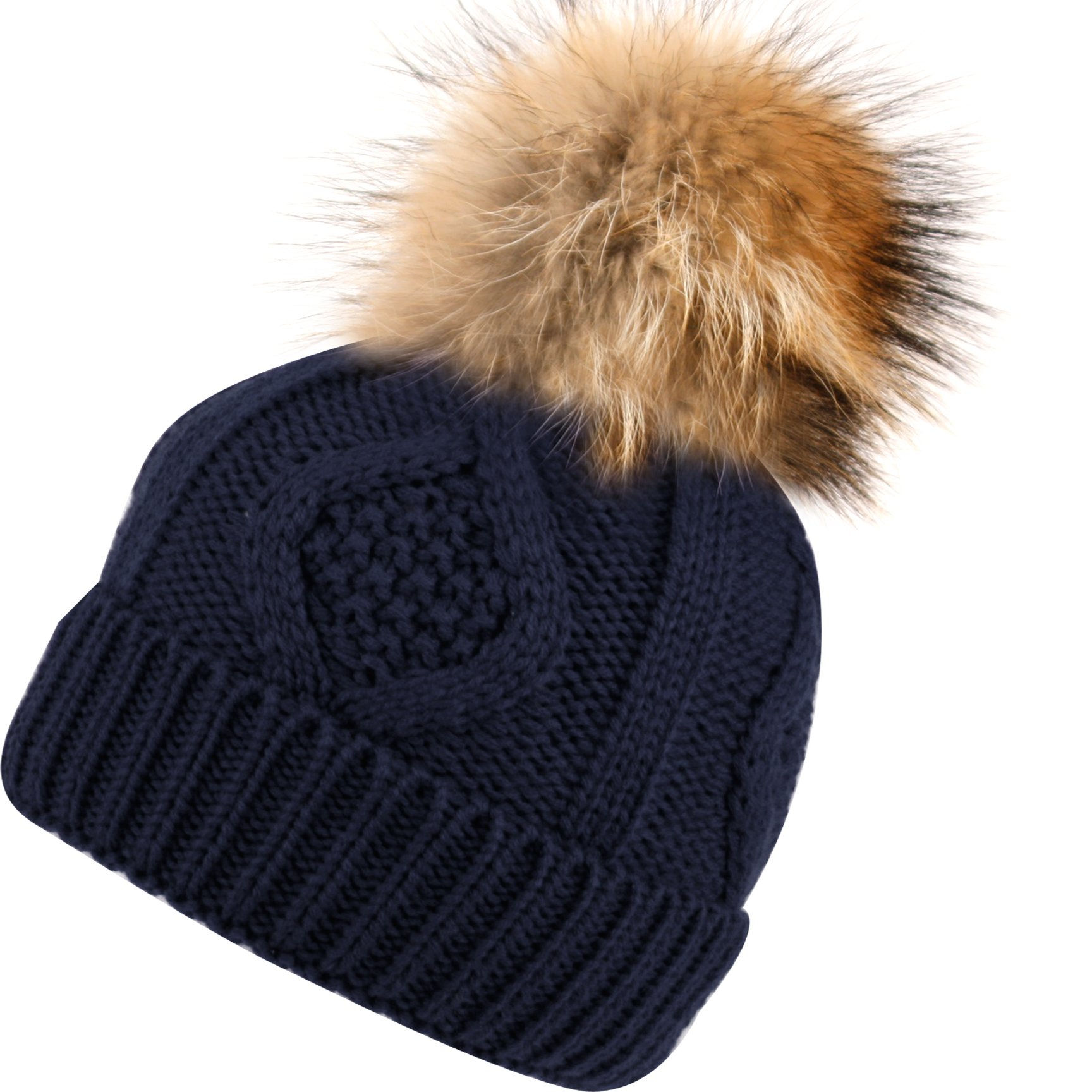 BN2355 Solid Cable Knit Real Raccoon Fur Pom Pom Skull Cap Hat Beanie (Navy)