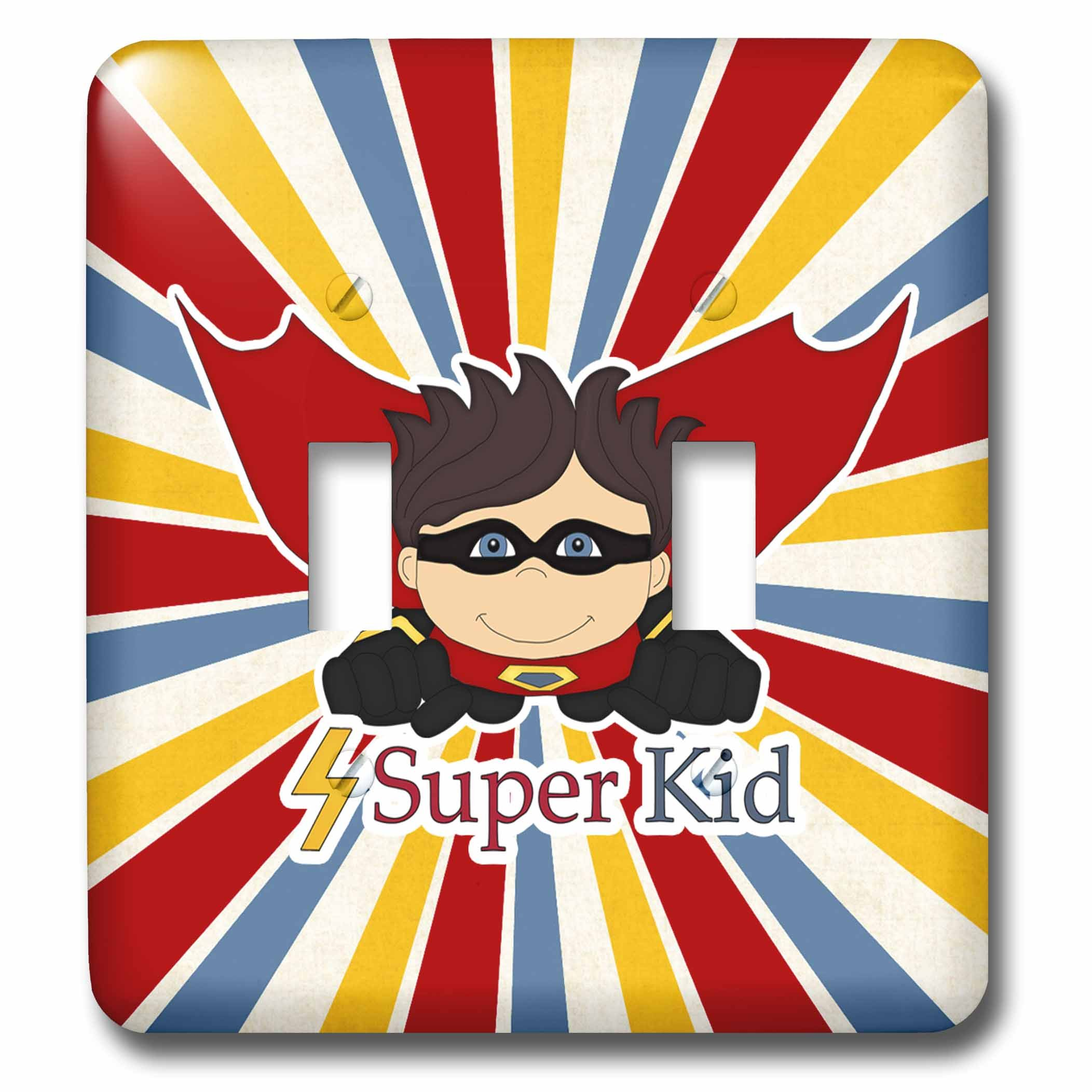 3dRose Doreen Erhardt Kids Collection - Superhero Boy is a Super Kid with Cape and Colorful Starburst - Light Switch Covers - double toggle switch (lsp_251757_2)