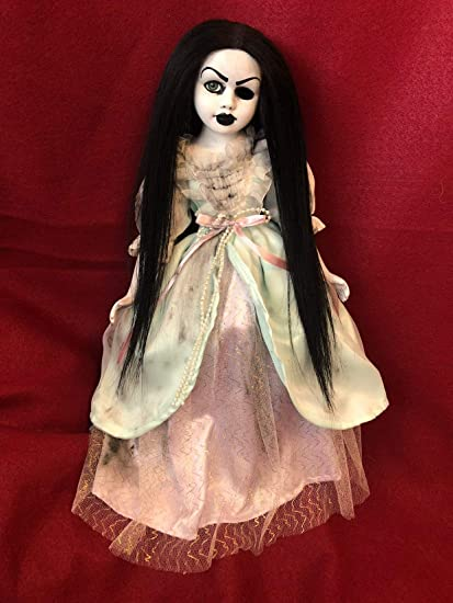 Gothic Girls Doll Black Hair Colorful Black Dress New In Box