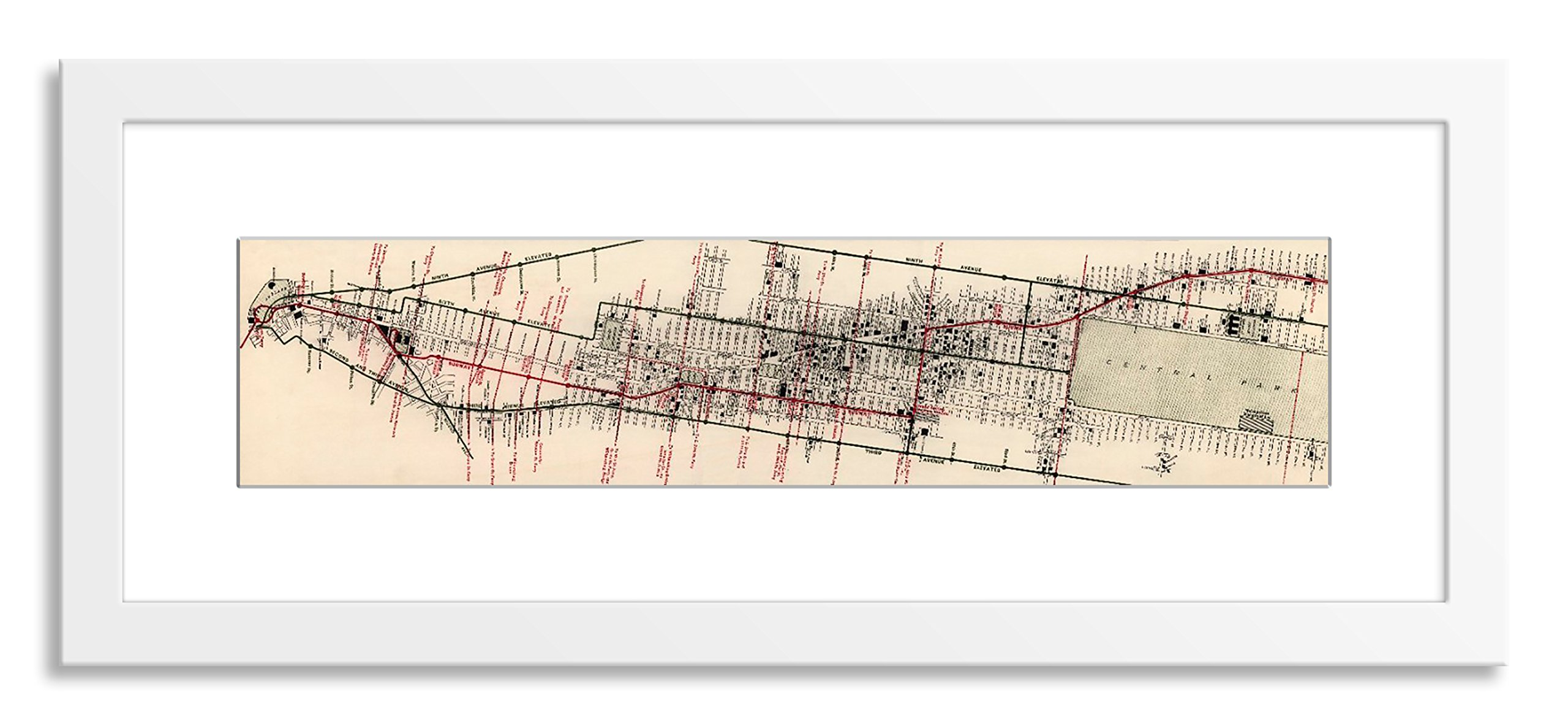 Gallery Direct V03990-7x35-PF-F0175-ML002 Map of New York Hotels and Theatres by the Merchants' Association Artwork on Paper with White, Clean and Simple Frame, 45'' x 17''