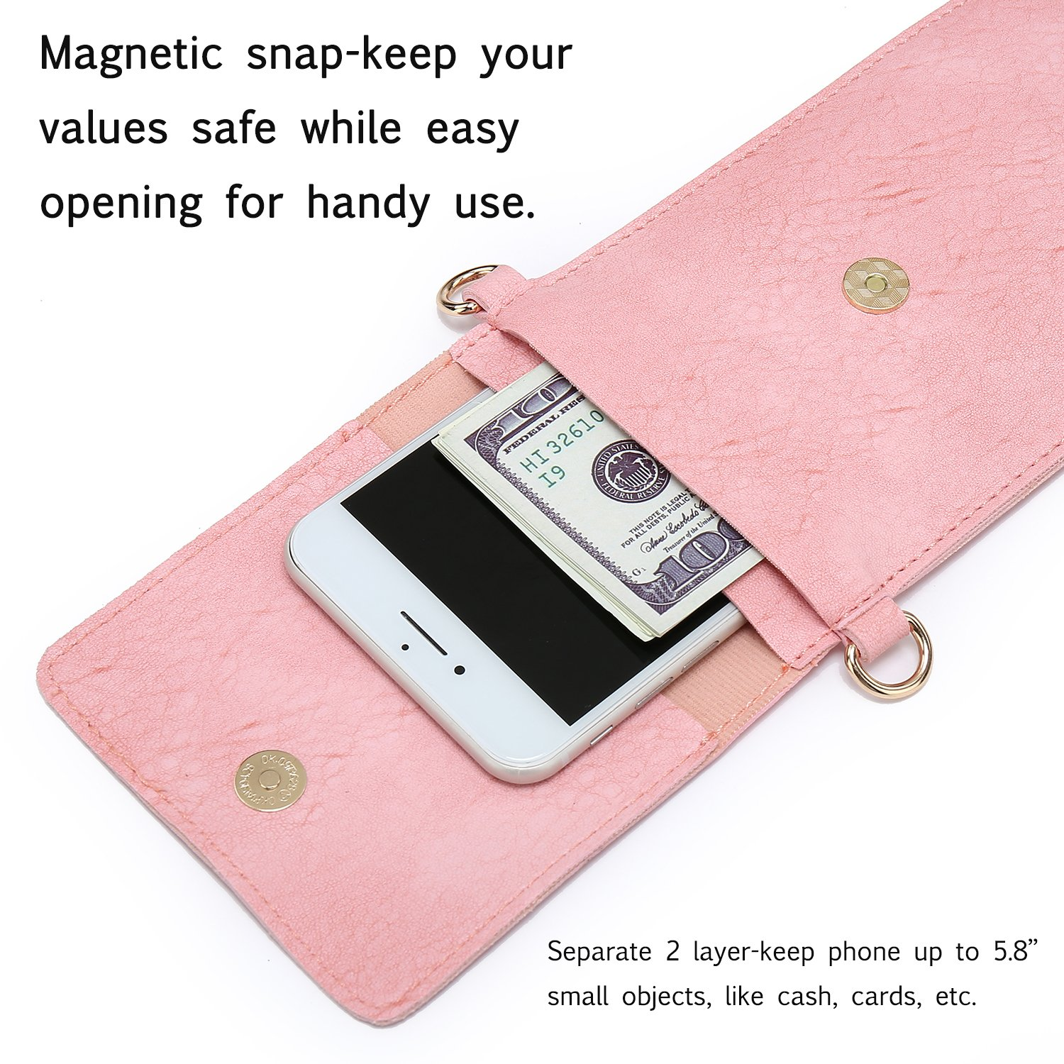 seOSTO Small Crossbody Bag, Cell Phone Purse Smartphone Wallet with 2 Shoulder Strap Handbag for Women (pink) by seOSTO (Image #6)