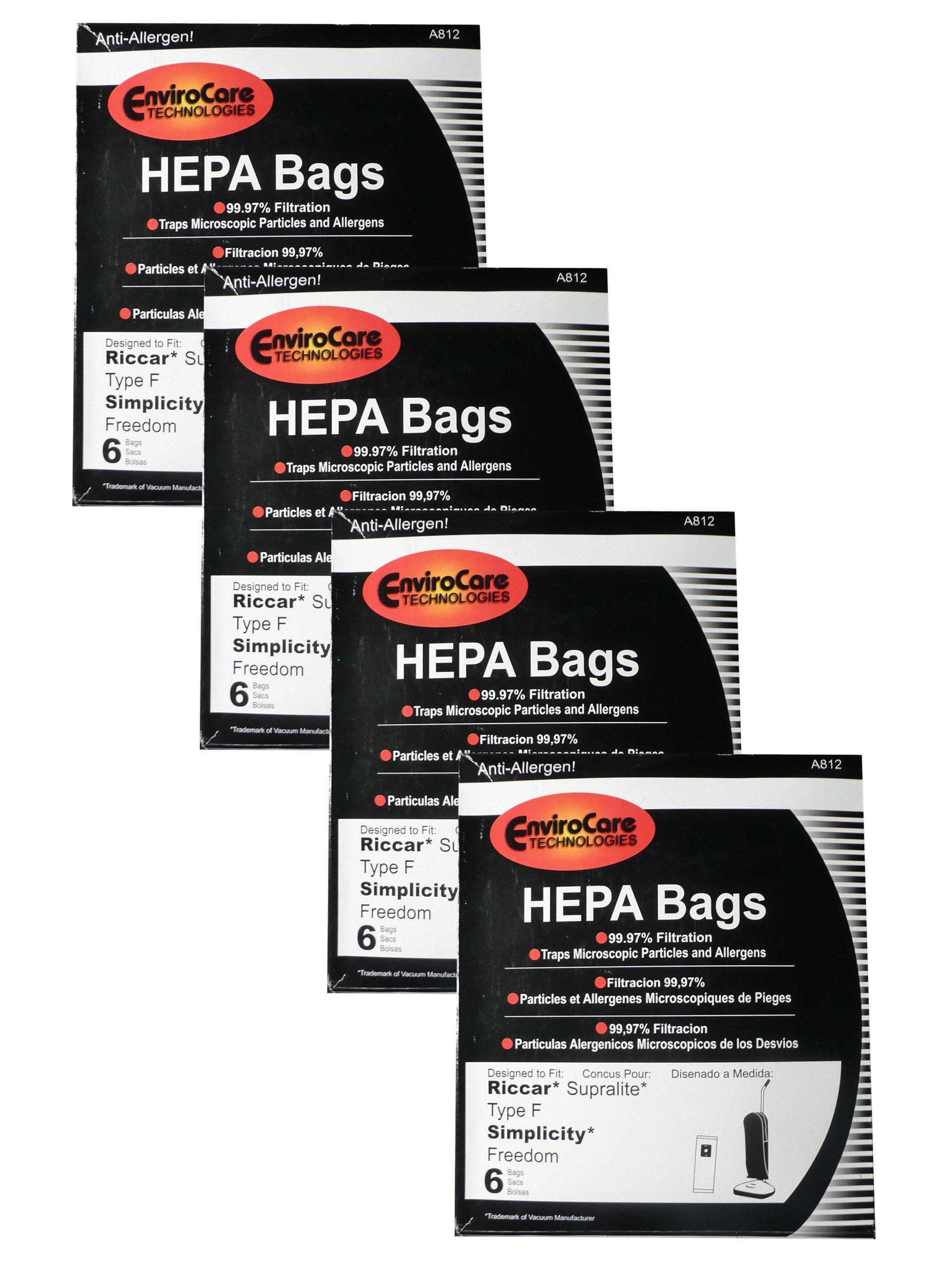 24 Riccar HEPA Type F Vacuum Bags, Simplicity, Freedom, Supralite, Canister Vacuum Cleaners, RSLH-6, SF-6, RSL1, RSL1A, RSL1AC, RSL3C, RSL2, RSL3, RSL4, RSL5, RSL5C, SLPLUS, RFH-6, F3500