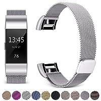 Hotodeal Bracelet Compatible Fitbit Charge 2, Acier Inoxydable Milanais Métal Réglable Remplacment Sangle Forte Aimante Serrure Femmes Hommes Grand Petit