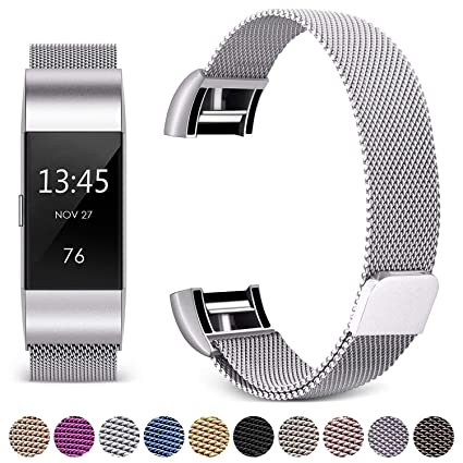 Hotodeal Band Compatible Fitbit Charge 2 Bands, Band Milanese Loop  Stainless Steel Magnet Metal Replacement Bracelet Strap, Wristbands  Accessories