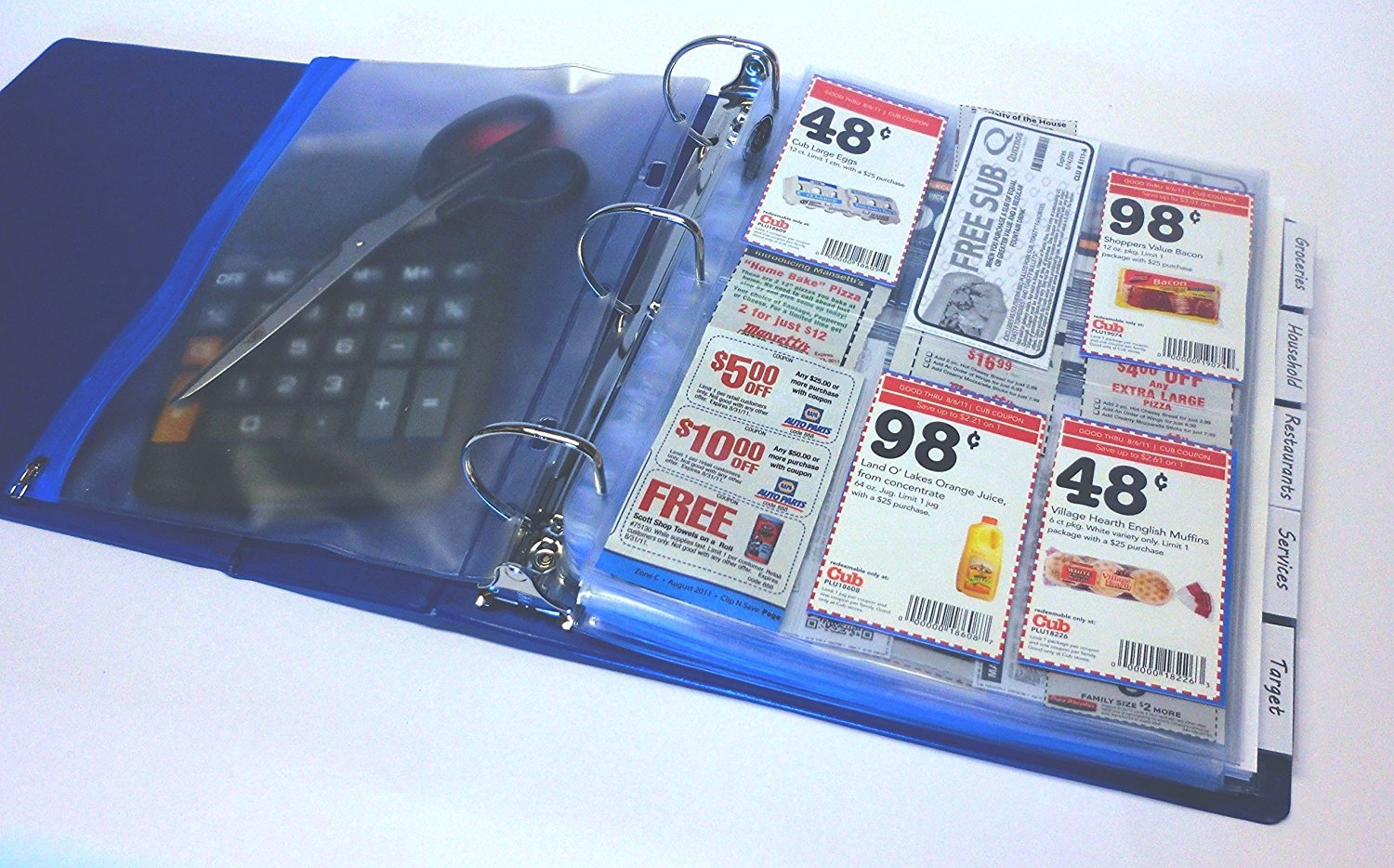 Coupon Saver Binder Bundle, Blue with Free Bonus Sleeve