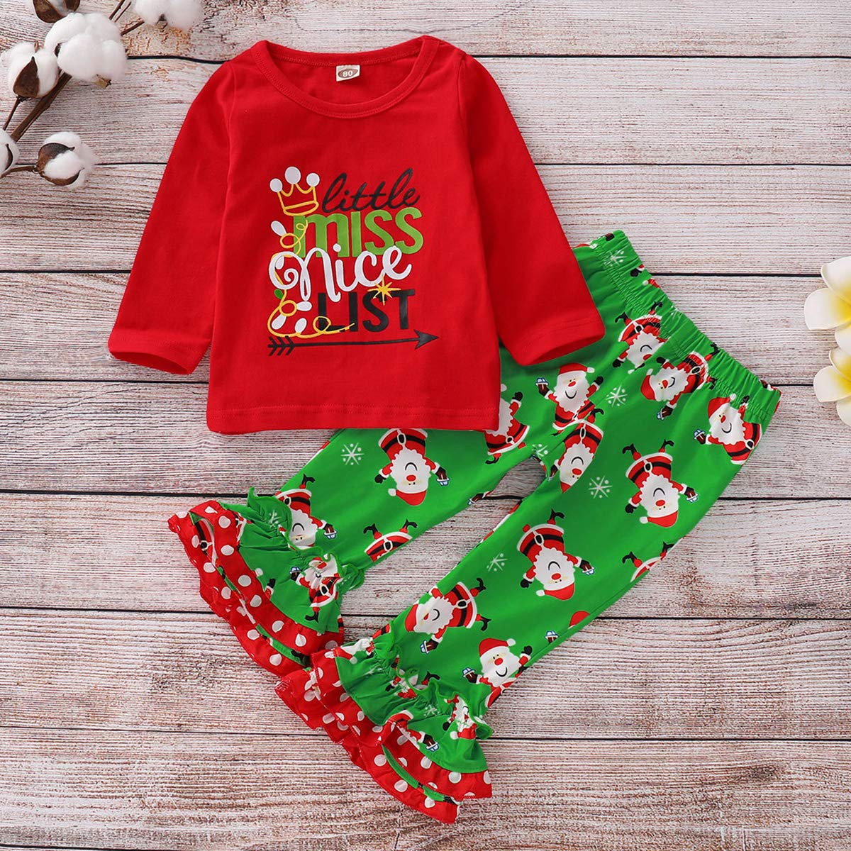 0a3386883ad4 Amazon.com: Toddler Baby Girls Christmas Clothes Long Sleeve Shirt & Ruffle  Pants Outfits Set: Clothing