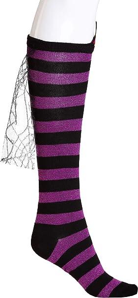 Womens Knee High Halloween Fancy Dress Socks Striped Stripey Costume Long Witch