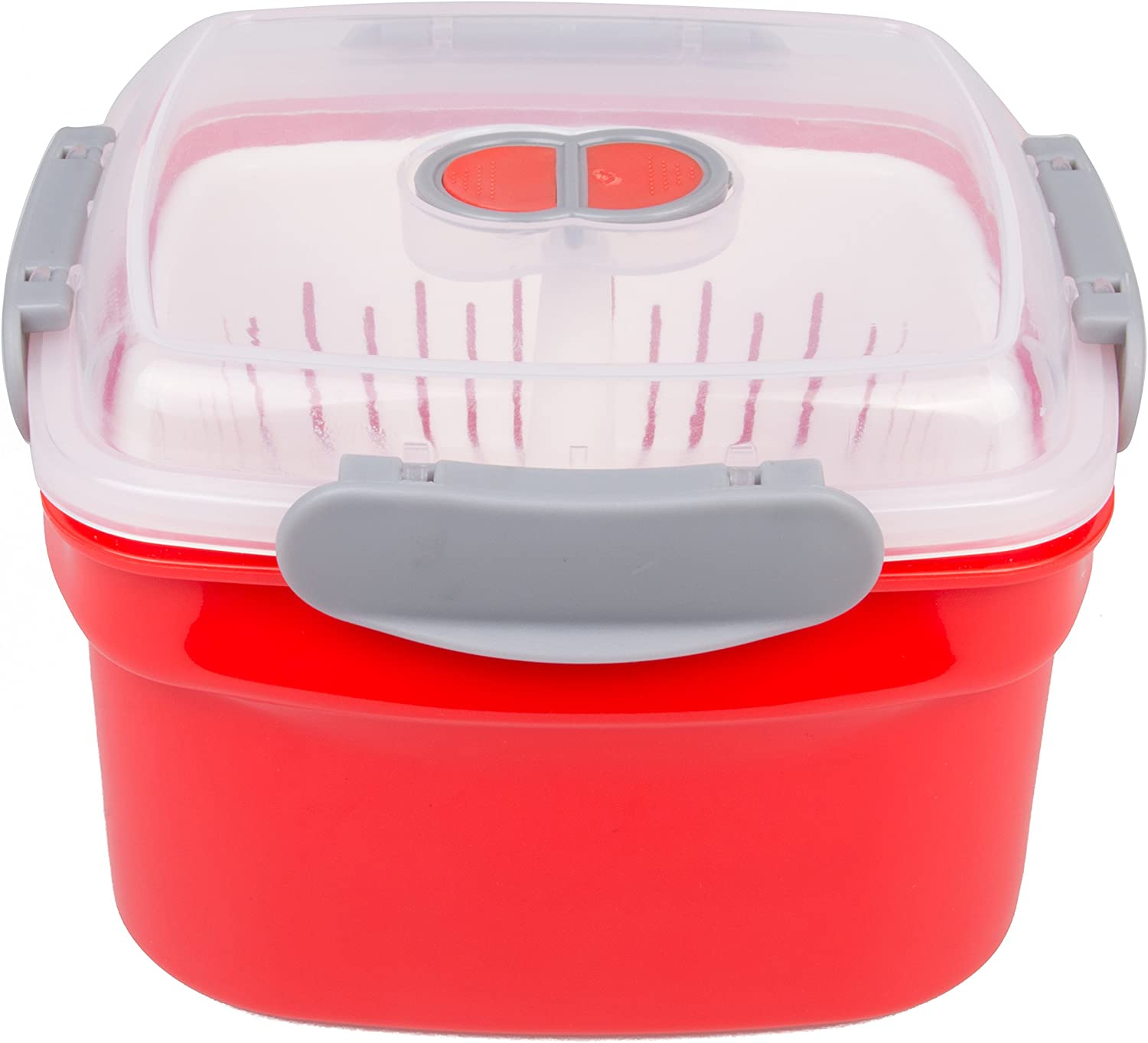 Microwave Cookware Steamer- 3 Piece Microwave Cooker w Food Container, Removable Strainer and Locking Steam Vent Lid- BPA Free, Fridge and Freezer Safe | 1.3 Liters, 6x6x4 Inches