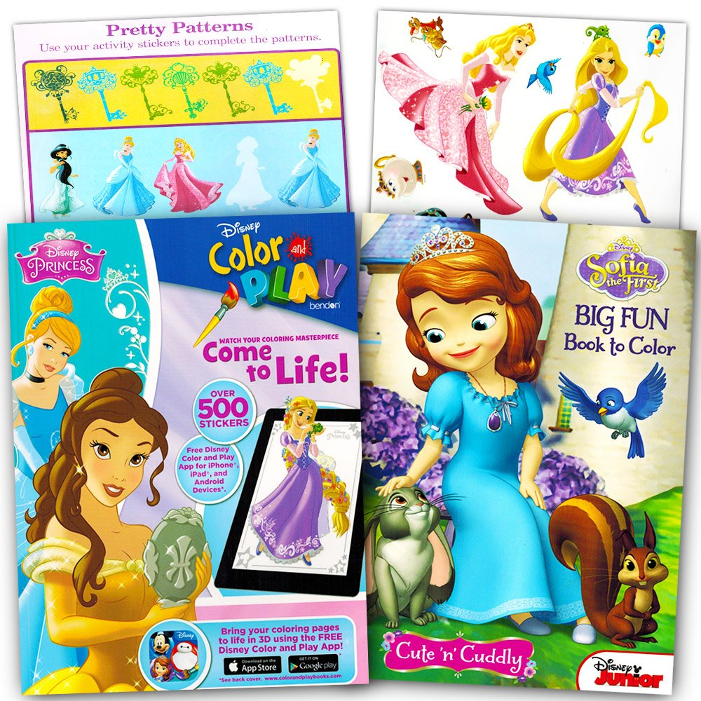 Amazon Disney Princess Ultimate Coloring Book And Sticker Set 2 Books With Over 500 Stickers Feature Cinderella Snow White