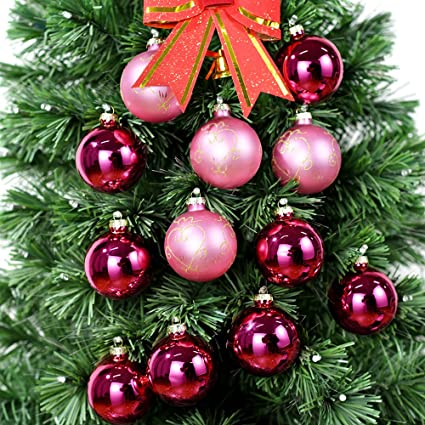 Amazon Com Essenceliving 67mm Hanging Bauble 12 Pink Glass