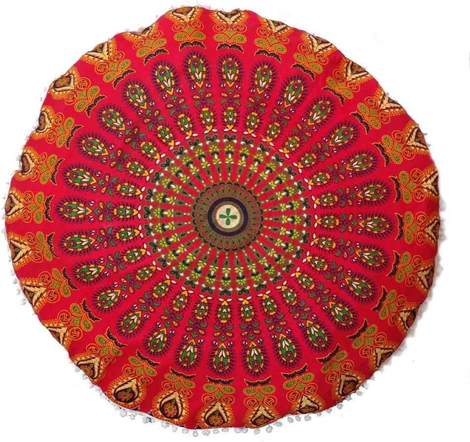 "Rastogi Handicrafts 32"" COR Mandala Floor Cushion Seating Throw Cover Bohemian Ottoman Poufs, Pom Cases,Boho Indian (RED)"