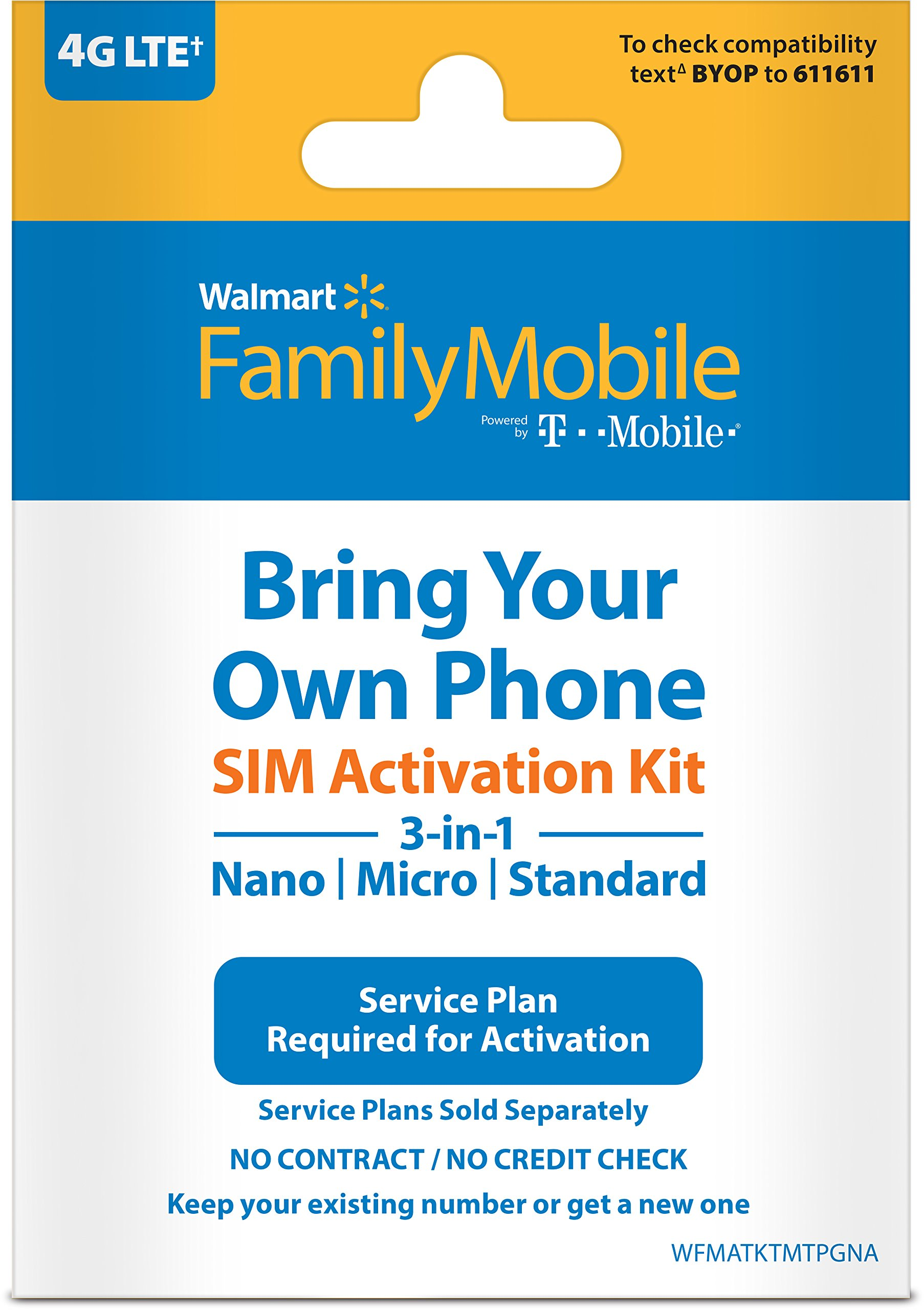 Family Mobile - Bring Your Own Phone - 3-in-1 SIM Card Activation starter Kit (Powered by T-Mobile)