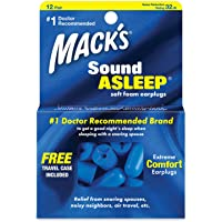 Mack's Sound Asleep Soft Foam Earplugs, 12 Pair - 32dB High NRR, Comfortable Ear Plugs for Sleeping, Snoring, Travel and Noisy Neighbors