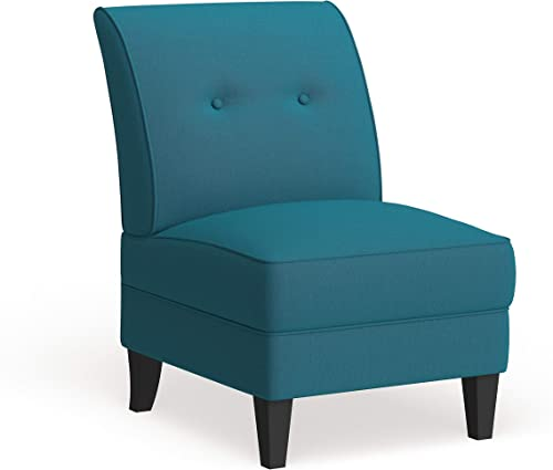 Handy Living Courtney Peacock Blue Linen Armless Chair