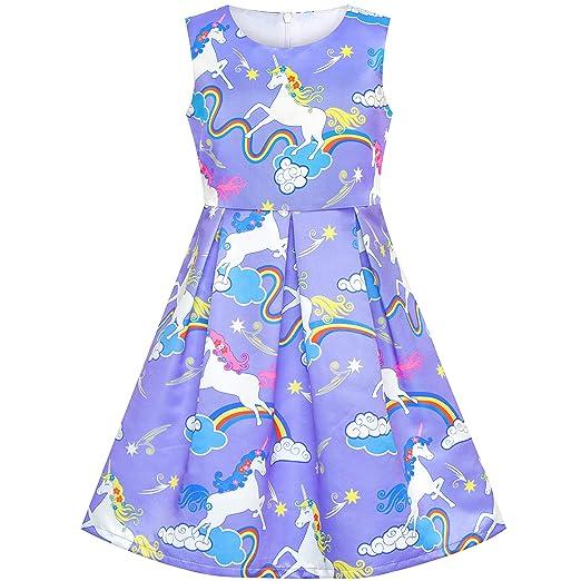 e7513ad62eee Amazon.com  Sunny Fashion Girls Dress Navy Blue Flower Belt Vintage ...