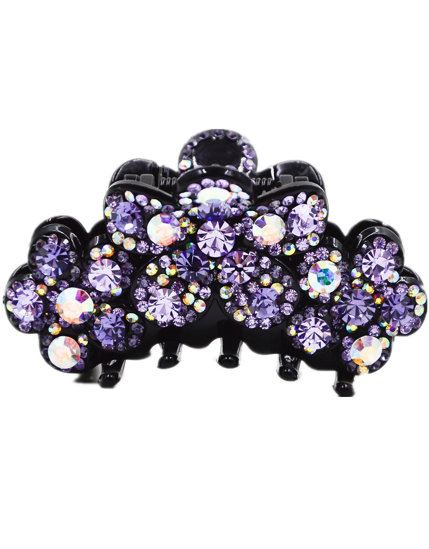 Fancyin New arrival Luxury Purple Crystal colorful rhinestones hair claw clip for women