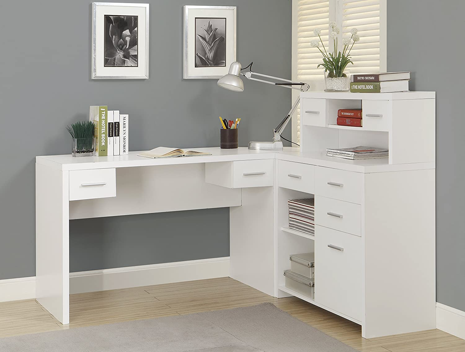 Amazon.com: Monarch Hollow-Core L Shaped Home Office Desk, White ...