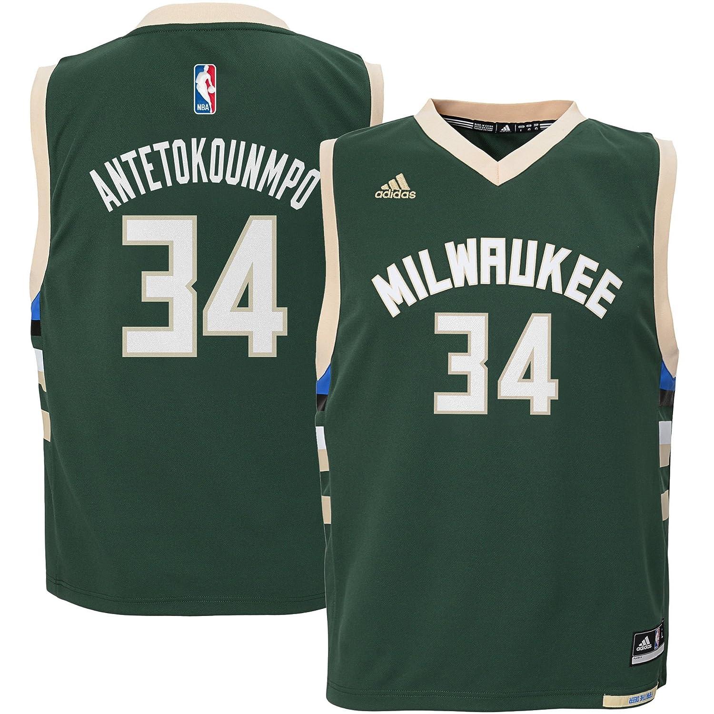 New adidas Giannis Antetokounmpo Milwaukee Bucks Kids Green Road Replica Jersey free shipping