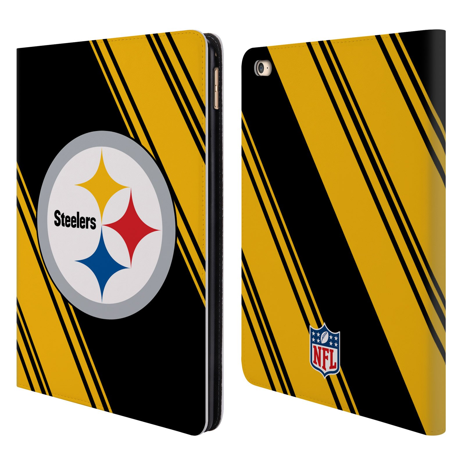 Official NFL Stripes 2017/18 Pittsburgh Steelers Leather Book Wallet Case Cover for iPad Air 2 (2014)
