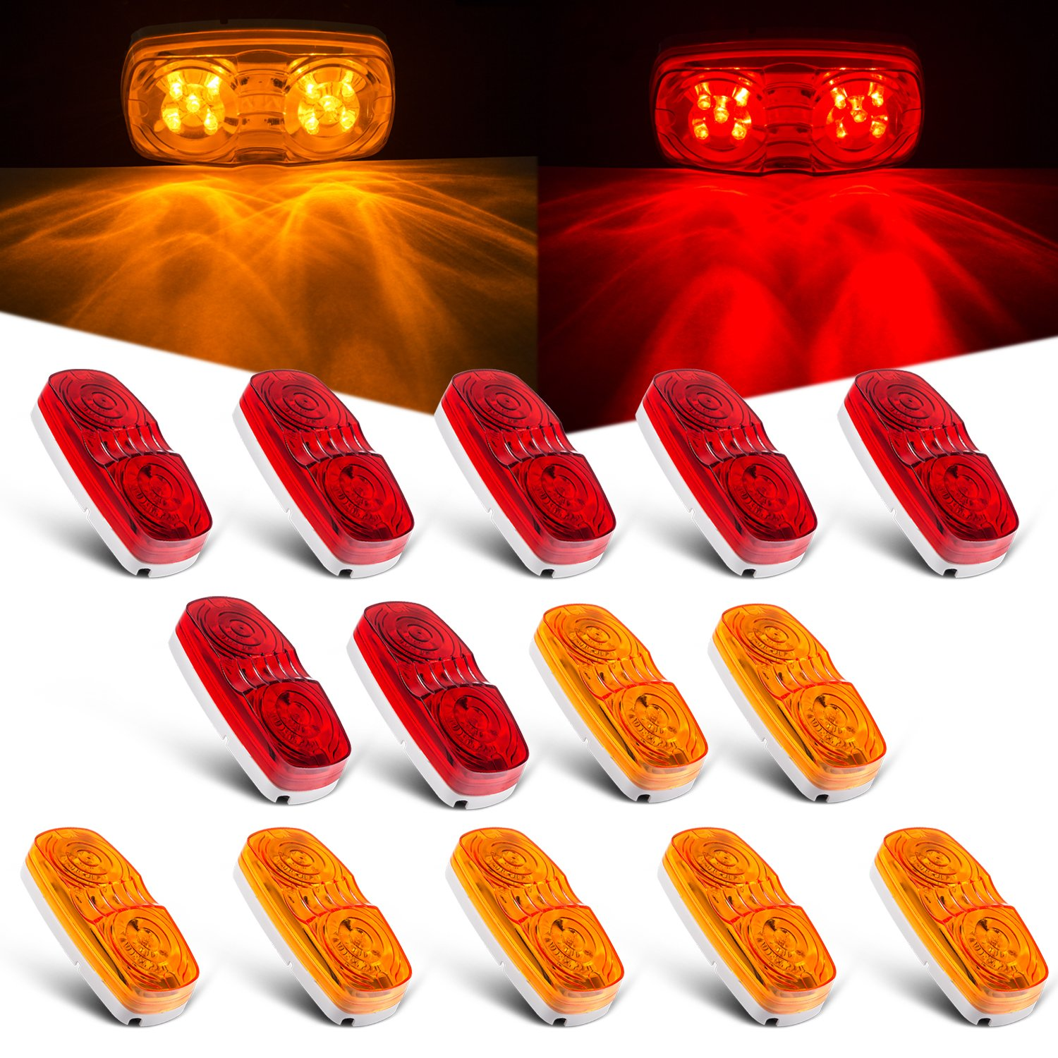 Tinpec 14 x LED Trailer Marker Lights with Double Bullseye 10 Diodes Waterproof Clearance Lights Rectangular Universal Side Marker Lights for Trucks, RVs, SUV, Boat, etc (7 Red+7 Amber) by Tinpec