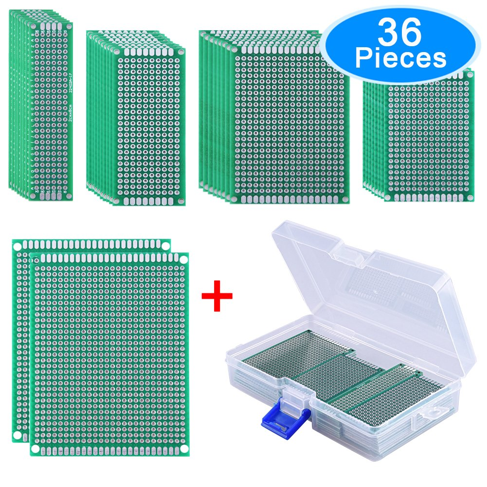 Austor 36 Pieces Double Sided Pcb Board Prototype Kit 5 Sizes Details About 12 Pcs Prototyping Printed Circuit Breadboard Universal Protoboard