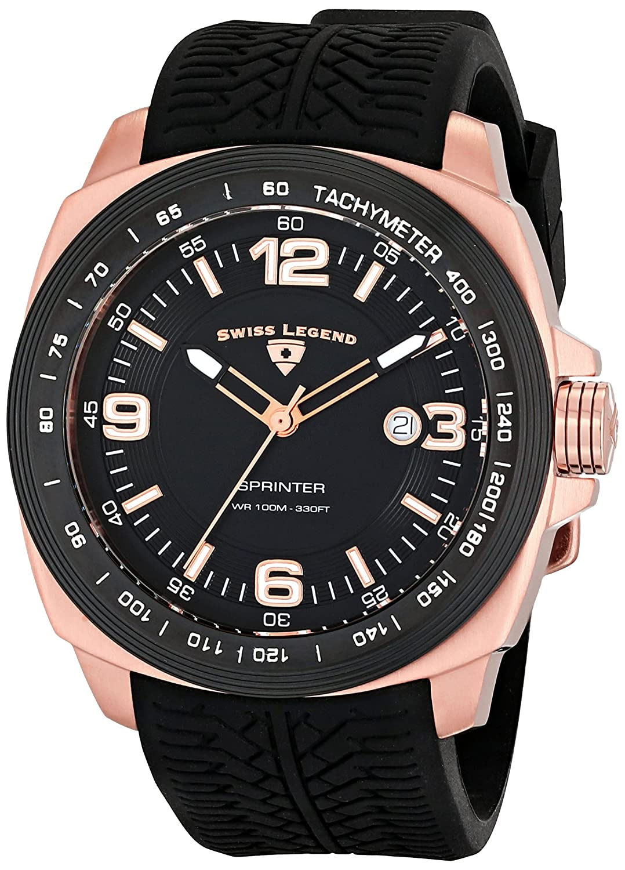 Swiss Legend Men s 21045-RG-01-BB Sprinter Analog Display Swiss Quartz Black Watch