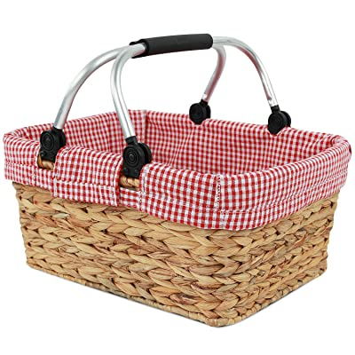 Home Innovation Picnic Basket Woven Water Hyacinth Gift Basket with Red/White Plaid Lining, Storage Wine Basket with Durable Folding Soft Handles, Easter Candy Eggs Basket Gathering Wedding Basket : Garden & Outdoor