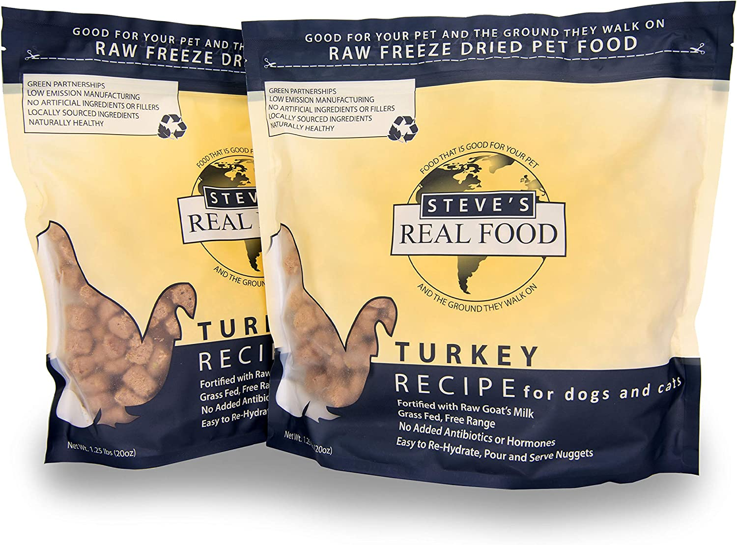 Steve's Real Food Freeze-Dried Raw Food Diet for Dogs and Cats, 2-Pack, Turkey Recipe, 1.25 lbs in Each Bag, Made in The USA, Pour and Serve Nuggets, Grass Fed & Free Range