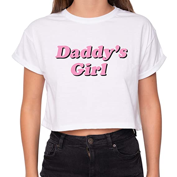 6c7367901 MINGA LONDON Daddy Girl Crop Top Fun Women's Tumblr Cute Kawaii:  Amazon.co.uk: Clothing