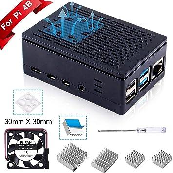 Para Raspberry Pi 3 b+ Caja + Cargador con Conector ON / OFF + 3 x Disipador + Ventilador Compatible con Carcasa Raspberry Pi 3 2 model b+