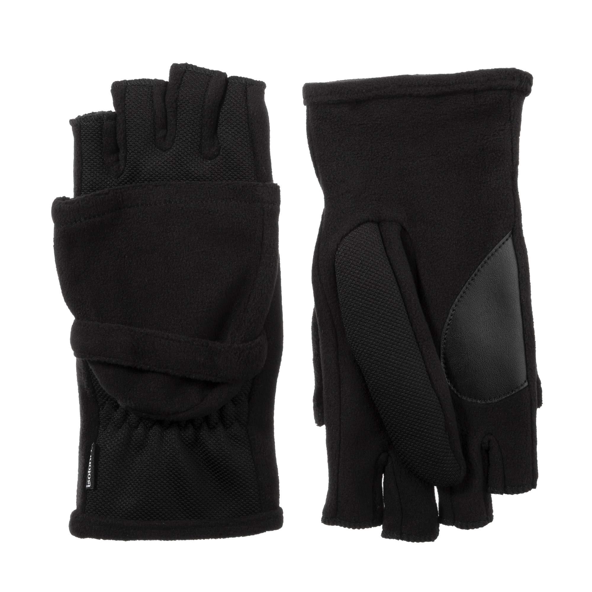 isotoner Fingerless Flip Top Women's Gloves For Texting, Mitten Cover, smartDRI Black, S/M by ISOTONER