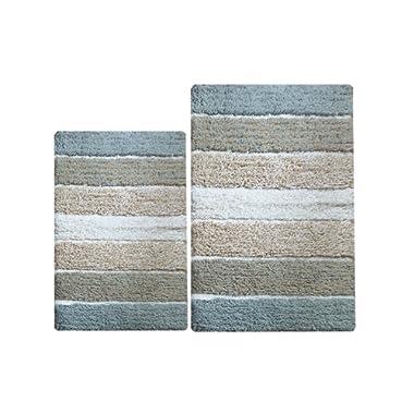 Chardin Home - 100% Pure Cotton - 2 Piece Cordural Stripe Bath Rug Set, (21''x34'' & 17''x24'') Gray-Beige with Latex spray non-skid backing