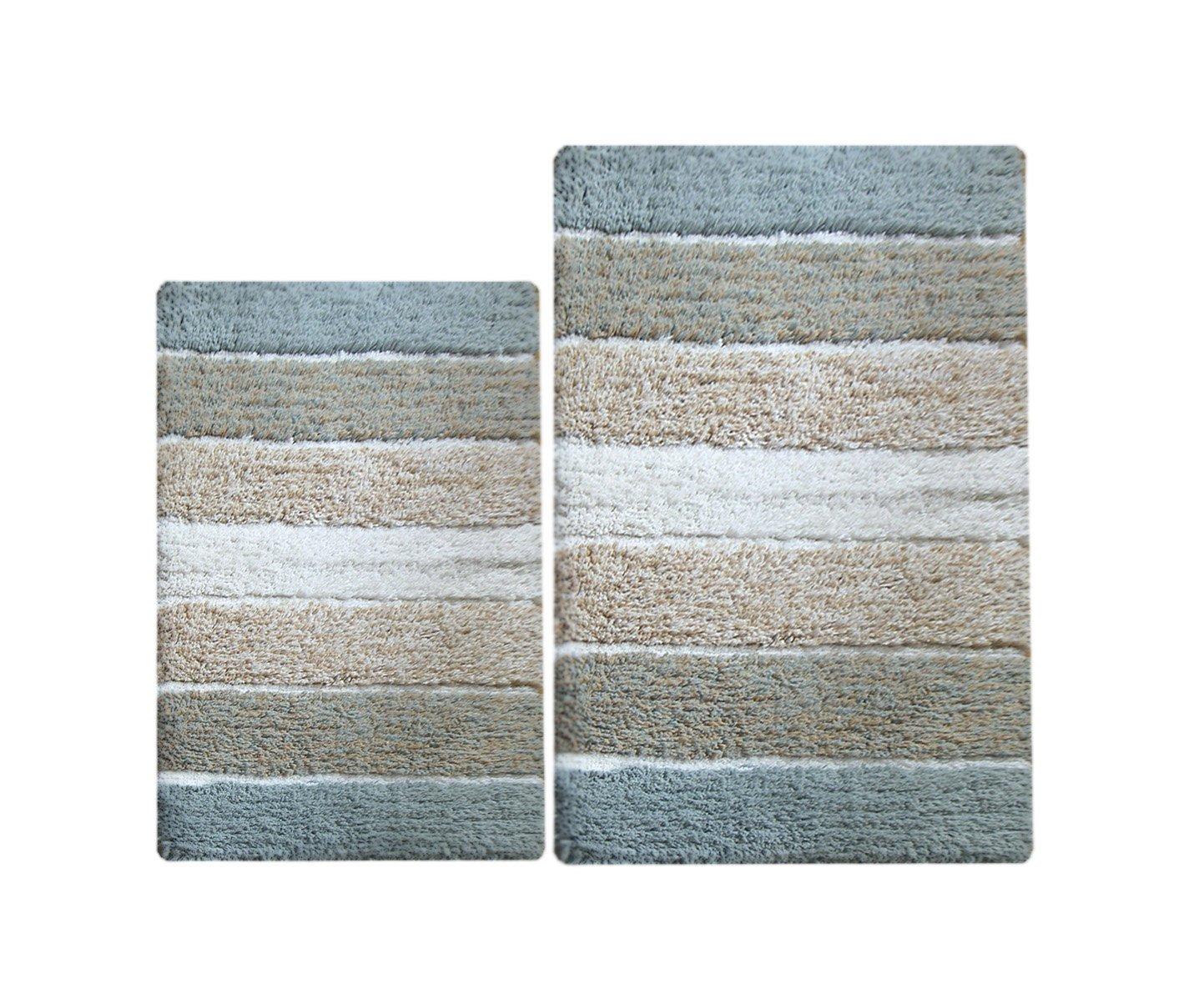 Chardin home 100% Pure Cotton - 2 Piece Cordural Stripe Bath Rug Set, (21''x34'' & 17''x24'') Gray-Beige with Latex spray non-skid backing
